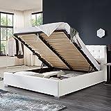 Bett mit Bettkasten Weiß Weiss Polsterbett Lattenrost Doppelbett Jimmy 140 160 180x200cm (180 x 200 cm)
