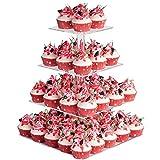 Cupcake Ständer, Kuchenständer 4-Stufig Acryl Halten sie Cupcakes Desserts für Nachmittagstee Party Baby Duschen Hochzeiten (Platz)